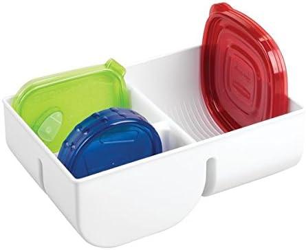 mDesign Juego de 2 cajas organizadoras Organizador de cocina vertical para cubiertas herm/éticas transparente Ideal para guardar hasta 76 tapas de fiambreras contenedores de comida y m/ás