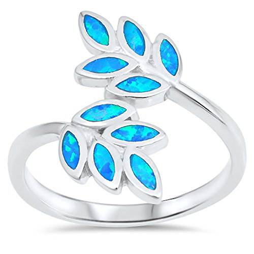 Blue Simulated Opal Leaf Branch Vine Tree Ring New 925 Sterling Silver Band Size 7