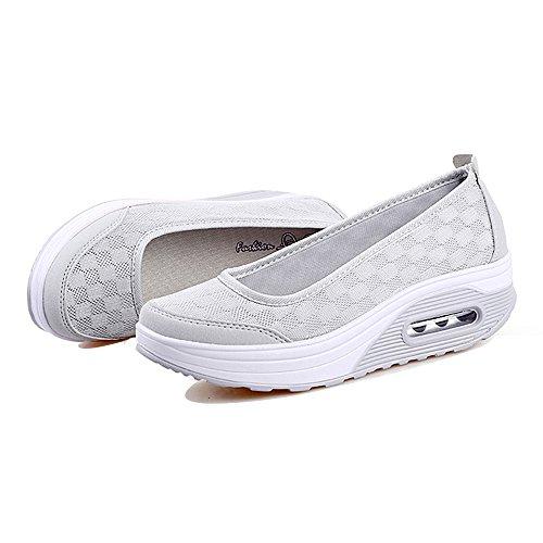 EnllerviiD Women Athletic Slip On Platform Fitness Toning Sneakers Shape Up Walking Shoes Grey-mesh Upper fNRmw2ZSF