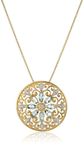 - 18k Yellow Gold Plated Sterling Silver Genuine Sky Blue Topaz and Diamond Accent Filigree Mandala Pendant Necklace, 18