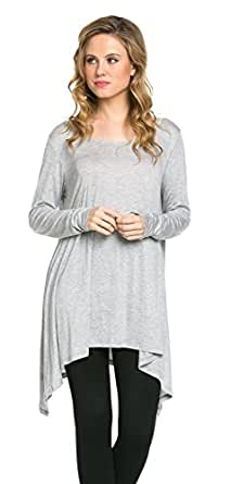 Frumos Womens Tunic Tops For Leggings Round Neck Top HGREY Small
