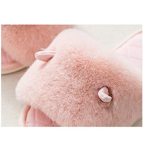 Chaude Intérieure La Maison 2018 Jzx Hiver Pantoufles forme Plate Antidérapante Peluche Coton Femmes De Mignon À Rose Ménage waPvqZa