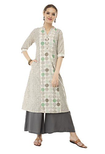 Lagi Women Designer A-line Straight Kurta Has A Made from Flex Cotton Fabric XL, Green ()