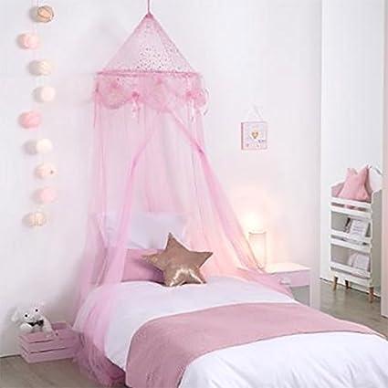 Cielo De Cama Para Nina Estilo Princesa Rosa Con Estrellas Amazon - Cama-para-nia