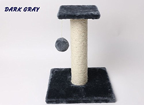 1 PCPet Cat Toys Interactive Tree Tower Shelves Ladder Climbing Frame Sisal Rope ball Cat Scratching Post for Kitten Scratcher Play Color Dark Gray