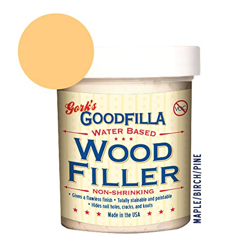 Water-Based Wood & Grain Filler by Goodfilla | Replace Every Filler & Putty | Repairs, Finishes & Patches | Paintable, Stainable, Sandable & Quick Drying (8 oz, Maple/Birch/Pine) (Maple Wood Putty)