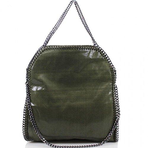 Women's Designer LARGE MINI Handbag CHAIN EDGE Hobo Shoulder Messenger Bag Dark Green Large