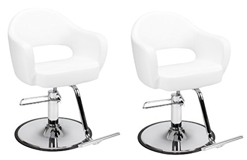 Beauty Furniture (SET OF 2 Beauty Salon Styling Chair CARROLL WHITE(A12) Thick, Curvy Comfort Styling Chair Beauty Salon Furniture & Equipment)