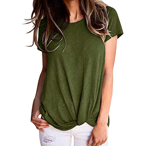 Casual Short Sleeve Crew Neck T Shirts Womens Slim Fit Solid Color Twist Knot Blouse Tops Summer Pocciol ()