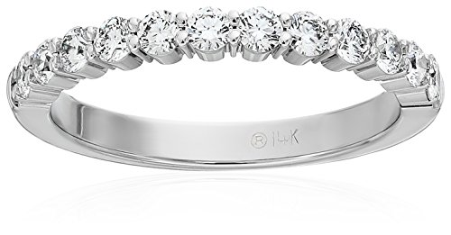 14k White Gold 2.5mm Shared Prong Wedding Band Stackable Ring (1/2cttw, SI1, G Color), Size 8 (Prong Diamond Wedding Band)