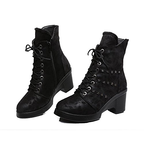Allhqfashion Solid Heels PU top Boots Zipper Women's Low Black High CHxCrq