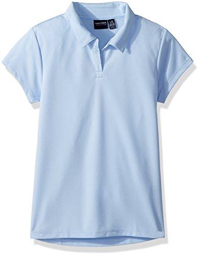 Nautica Girls' Big School Uniform Short Sleeve Performance Polo, Light Blue, X-Large(16)