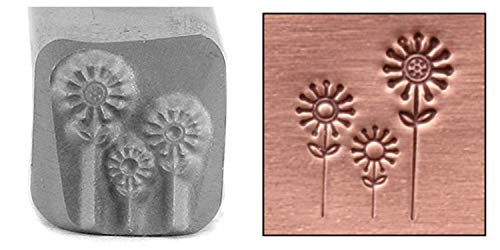 (Beaducation Flowers Metal Design Stamp, 9mm Floral Garden Daisy Daisies Punch Stamping Tool for Hand Stamped DIY Jewelry Crafts Original Metal Design)