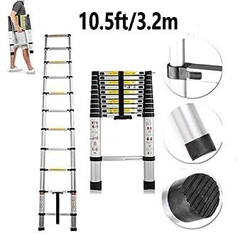 Escalera telescópica de aluminio multiusos, escalera plegable para proyectos de bricolaje, extensible y telescópico, 3,2 m: Amazon.es: Industria, empresas y ciencia
