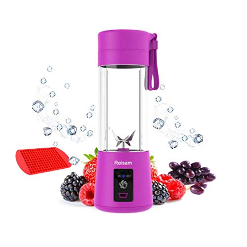 Mini Blender, Portable Electric Juicer Cup 380ML Personal Blender Smoothie Maker USB Rechargeable Fruit Juice Extractor and Mixer with 6PCS Blades for Home Office Outdoor (Purple)