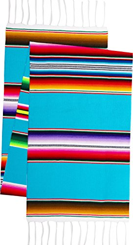 Genuine Mexican Premium Handwoven Bright MexicanTable Runner Saltillo Serape Colorful Striped Sarape 60'' x 12'' (Turquoise) by Threads West (Image #1)'