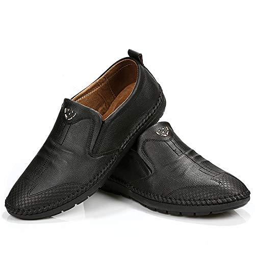 Qiusa Herren Slip auf Casual Loafers Soft Sohle Rutschfeste Casual auf Breathable Comfort Driving Schuhes (Farbe : Braun, Größe : EU 39) Schwarz e3b414