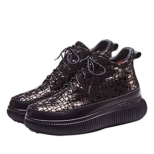 Outdoor Boots Grigio Autunno e Studenti Running Stivaletti For inverno Sport pizzo Scarpe Ladies Leather Confortevole Stones Patterned antiscivolo dacTd1zwq
