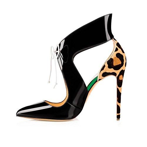 Lacets Stiletto Black Talon Escarpins Edefs Aiguille Femmes Leopard Chaussures Cheville Haut Bride 120mm qvH8wRa