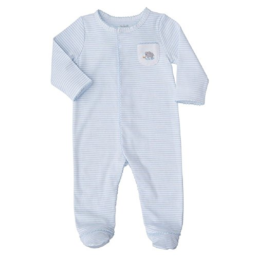 (Mud Pie Baby Infant Elephant Footed Long Sleeve Sleeper, Blue, 0-3)