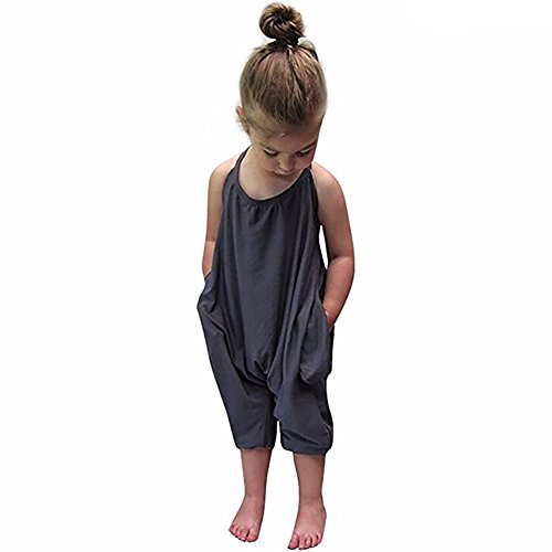 Darkyazi Baby Summer Jumpsuits for Girls Kids Cute Backless Harem Strap Romper Jumpsuit Toddler Pants Size 2-8Y (4T, Grey) ()