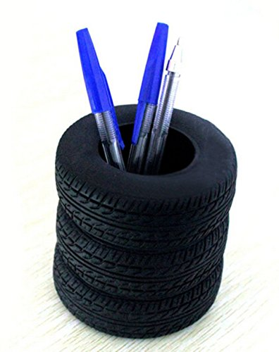 YOURNELO Tire Shape Pen Stand Pencil Holder Desk Organizer -