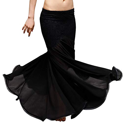 Belly Dance Costumes Lace + Chiffon Bag Hip Skirt Belly Dance Fishtail Skirt,Black,One Size -