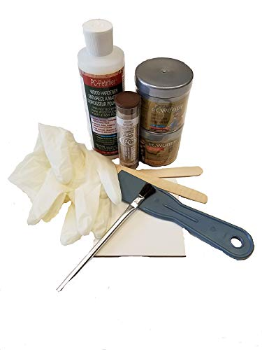 PC Products Rotted Wood Repair Kit, Water-Based Hardener, Epoxy Paste & Epoxy Putty, 1oz, 84113