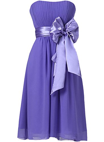with Dress ASVOGUE Bowknot Cocktail Women's Purple Strapless Bridesmaid Party qxYPrRYwX