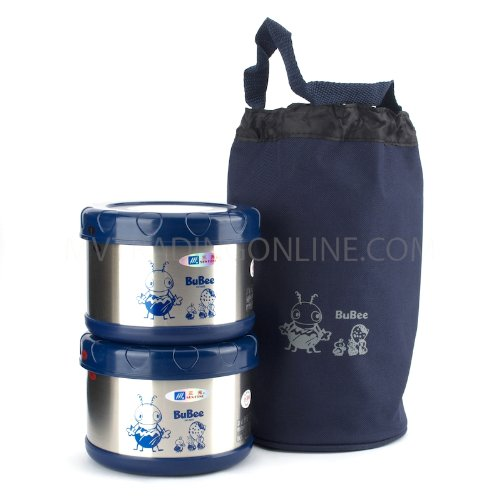 M.V. Trading K1000B Two Stainless Steel Vaccum Lunch Jar, Blue by M.V. Trading