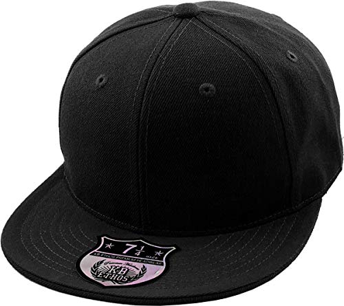 KBETHOS KNW-2364 BLK (8) The Real Original Fitted Flat-Bill Hats True-Fit, 9 Sizes & 20 Colors