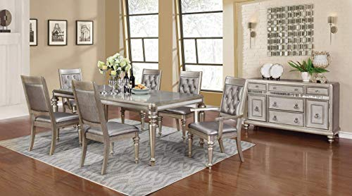 Coaster Home Furnishings Bling Game 5-Piece Dining Set with Rectangular Extension Leaf Table Metallic Platinum (Room Table Dining Mirrored)