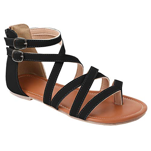 Ruanyu Womens Strappy Gladiator Flat Sandals Ankle Strap Open Toe Summer Sandals - Sandal Toe Ankle Wrap