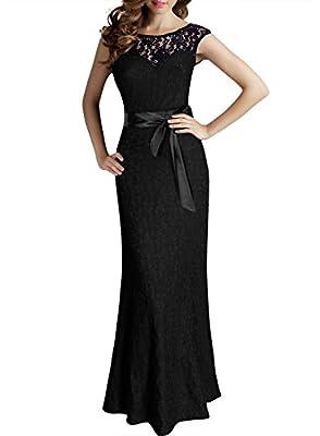 Miusol Women's Elegant Floral Lace Sleeveless Halter Bridesmaid Maxi Dress