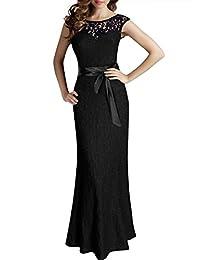 Miusol® Women's Elegant Sleeveless Halter Black Lace Bridesmaid Maxi Dress (3192)