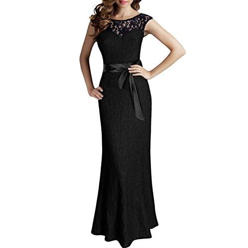 Nemidor womens chiffon sexy metallic lace prom maxi dress