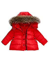 Dumanfs Baby Warm Winter Down Jacket, Infant Girls Boys Removable Hat Snow Coat