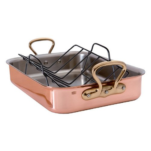 Mauviel M'Heritage Copper Roasting Pan with Rack, 15.7 Inch -