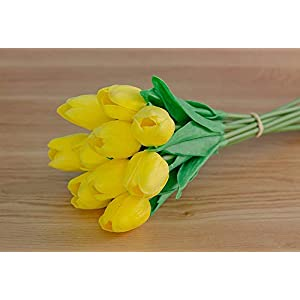 MARJON FlowersArtificial Flowers,Fake Flowers Bouquet Silk Tulip Real Touch Bridal Wedding Bouquet for Home Garden Party Floral Decor 10 Pcs (Yellow) 103