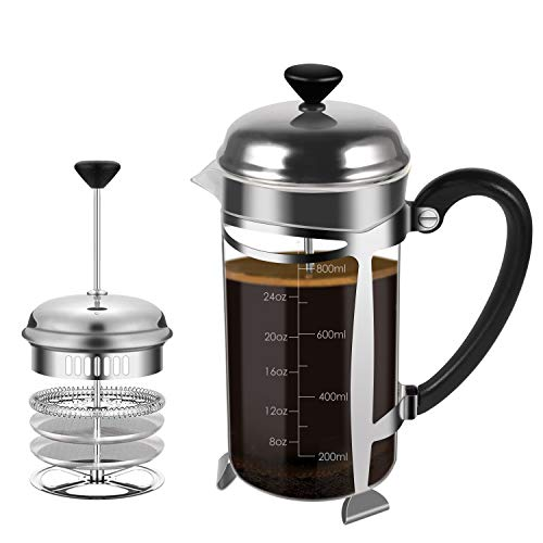French Press Coffee Maker, (8 Cups/ 34 oz) Durable Easy Clean Coffee Pot Heat Resistant Borosilicate Glass – 100% BPA…