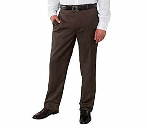 Kirkland Signature Men's Wool Flat Front Dress Slack Pant (34X32, Brown Herringbone) Lightweight Wool Dress Pant