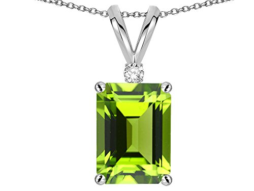 - Star K Classic Octagon Emerald Cut 8x6mm Genuine Peridot Pendant Necklace 14 kt White Gold
