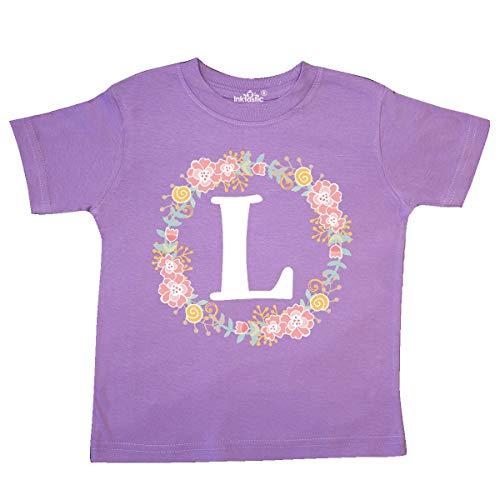 inktastic - Monogram Letter L Rose Floral Toddler T-Shirt 4T Lavender 31b72