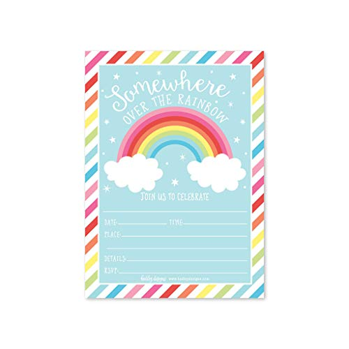 25 Rainbow Stars Color, Cloud Colorful Sparkle Party Invitations, Striped Colored Pastel Girls Invite Ideas, Kids Adults Birthday Supplies, Baby or Bridal Shower Gender Reveal Card, Printable Template -