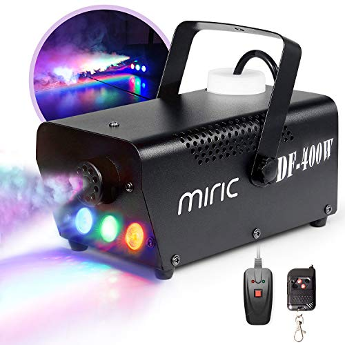 Fog Machine, Miric Smoke Machine Portable with LED Lights Equipped with Wired and Wireless Remote Control for Party, Christmas, Halloween and Weddings ()
