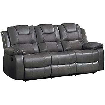Homelegance Taye Double Recliner Sofa Leather Gel Matched Microfiber, Grey