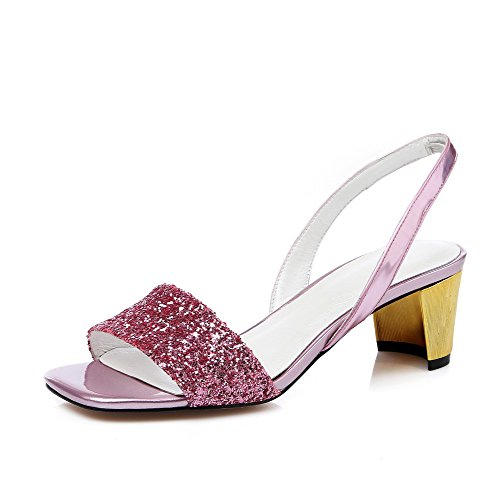 AllhqFashion Womens Kitten Heels Solid Pull On Open Toe Sandals Pink
