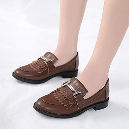 GIY Womens Classic Penny Loafers Square Toe Slip-On Tassel Dress Casual Block Heel Loafer Oxford Shoes Brown sRSfudkoZA