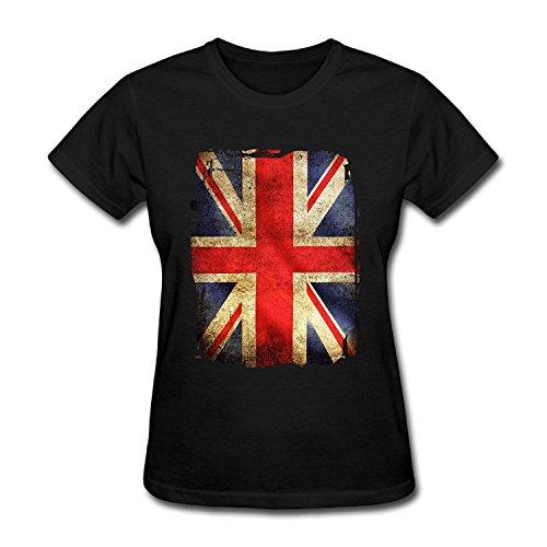 SEagleo Women's The European Union Vintage British Flag Pattern T-shirt Black Small