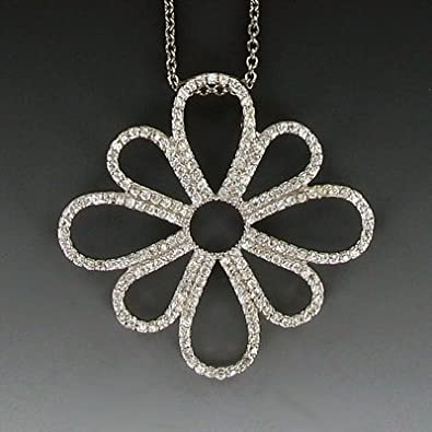 4c6e815cd371 Amazon.com  Ramona Singer Sterling Silver Pierced Flower Necklace with Crystal  CZ Stones  Pendant Necklaces  Jewelry
